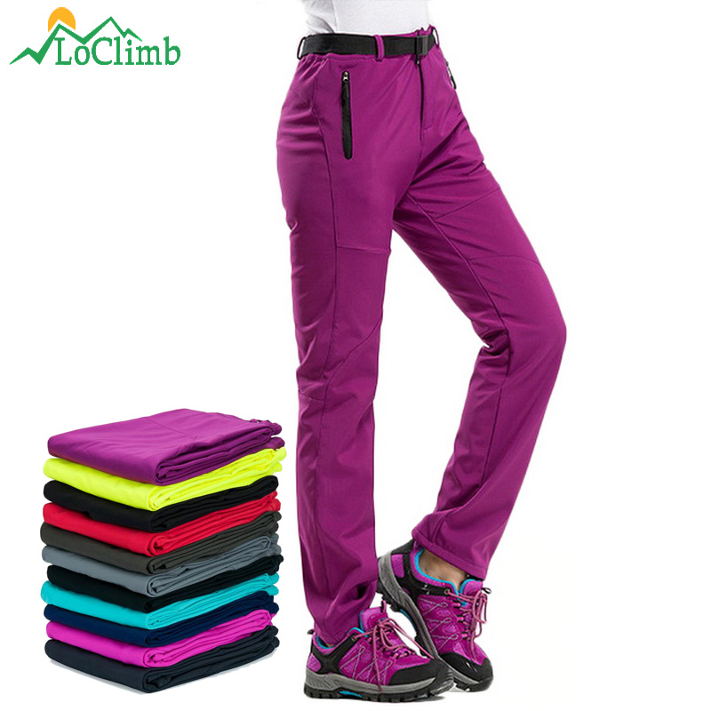 LoClimb Winter Hiking Pants Women Fleece Softshell Pants Outdoor Ski Trousers Mountain/Camping/Trekking Waterproof Pants AW195