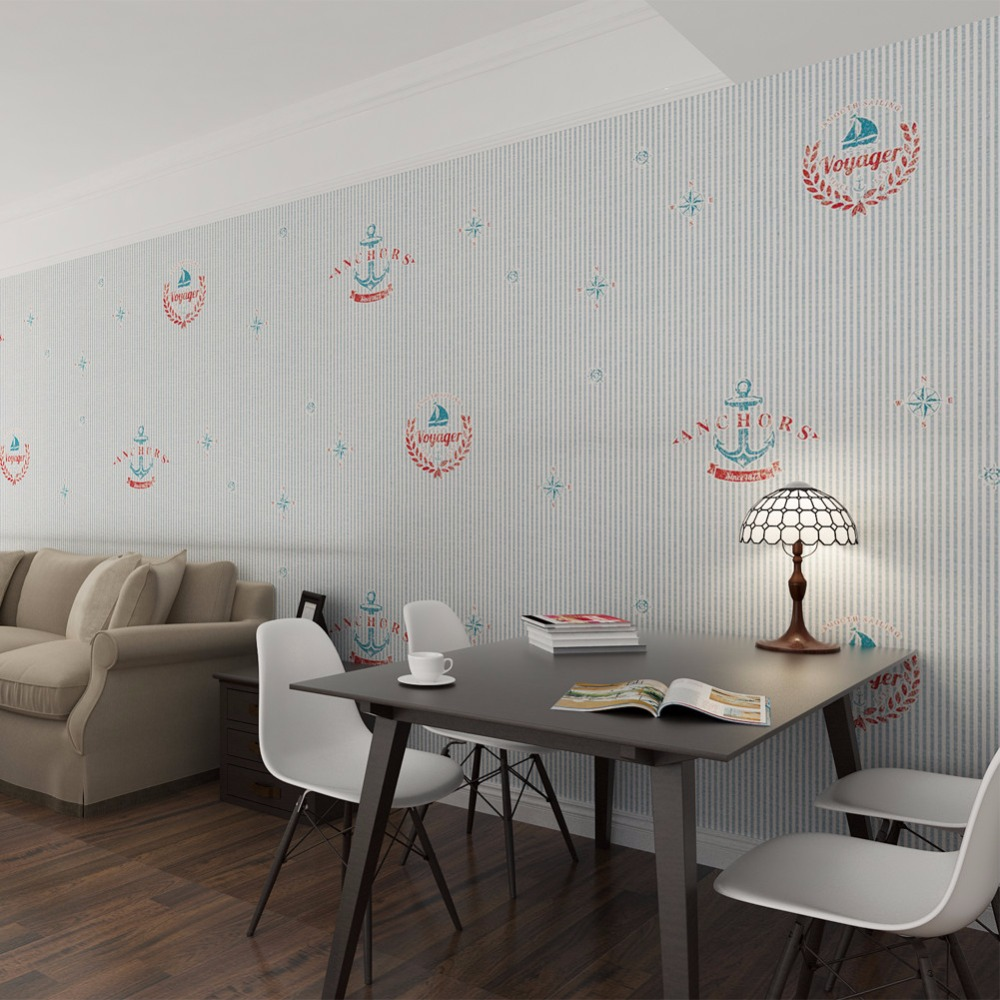 2017 papel de parede marineblau gestreifte tapete anker gedruckte tapeten f r kinderzimmer. Black Bedroom Furniture Sets. Home Design Ideas