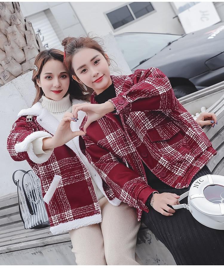 MUMUZI Winter Jacket Women sheepskin Winter Coat Fashion spring Women Parka red plaid Coats Chaquetas Mujer Invierno