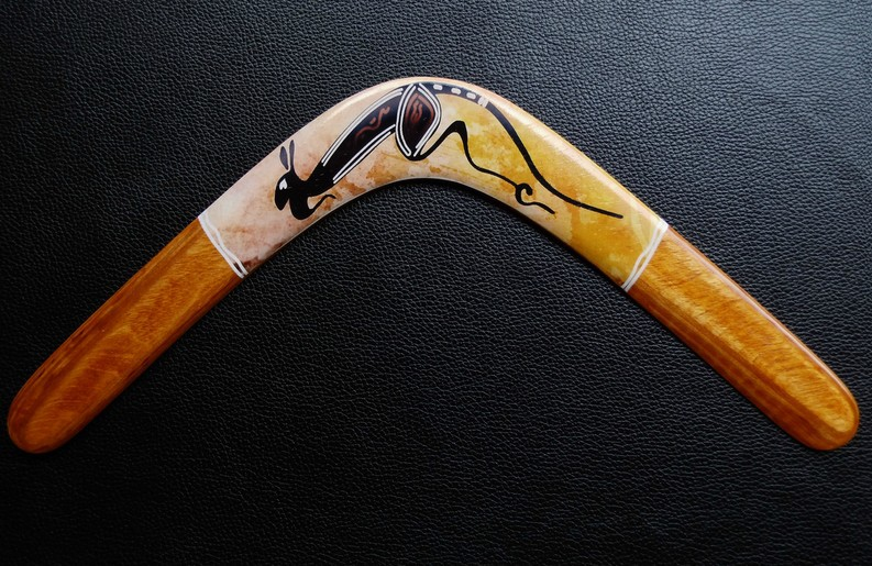 Hand Carved Wooden Boomerang