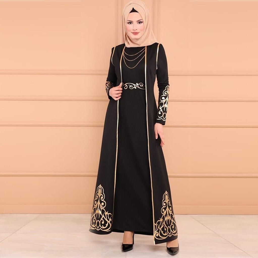 Longue abaya Robe décontracté Robe Musulmane femmes Musulman 2 PC Robe et Robe Caftan Abaya Mince Robes de Fête Musulmane T411