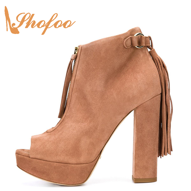 Shofoo Women Spring Brown Suede Peep Toe High Heels Ankle Boots With Fringles Casaul Shoes For Woman, Large Size 4-16 ClassicShofoo Women Spring Brown Suede Peep Toe High Heels Ankle Boots With Fringles Casaul Shoes For Woman, Large Size 4-16 Classic