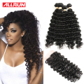 Brazilian Deep Wave With Closure 3 Bundles With Closure Deep Wave Brazilian Hair With Closure Brazilian Deep Curly Virgin Hair