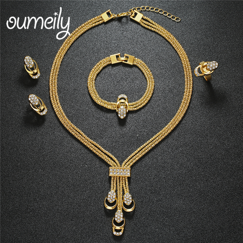 OUMEILY Jewelry Sets Dubai Gold Color Wedding Jewelry Sets For Women Brides Jewelery Costu