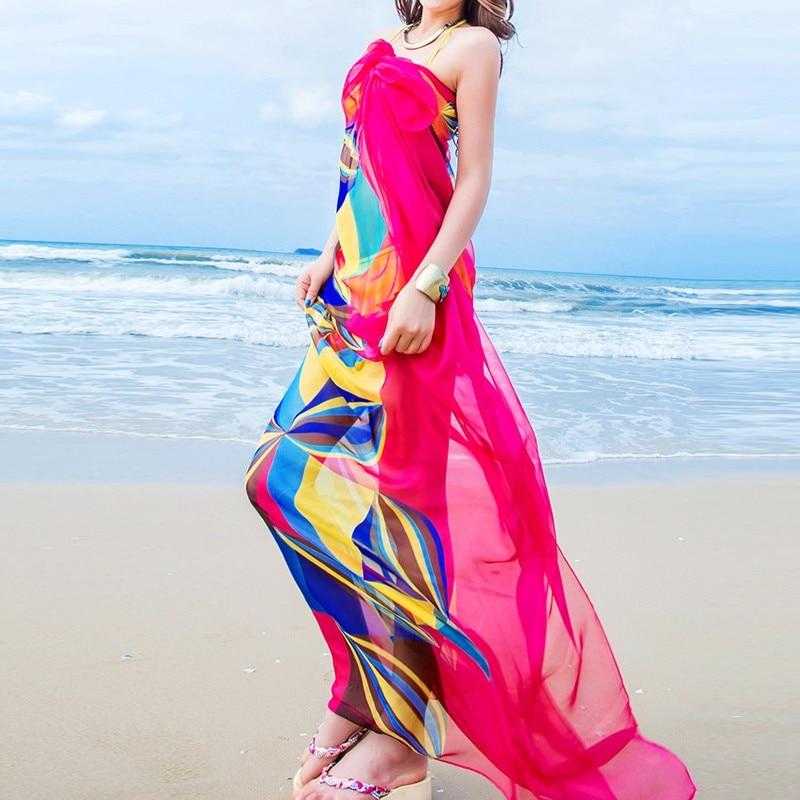 Лето 140x190см Парео Шарф Женщины Пляжные саронги Пляжное прикрытие Летние шифоновые шарфы Геометрический дизайн Плюс размер полотенца
