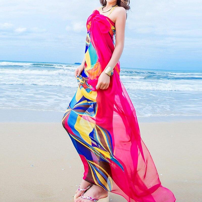 Sommar 140x190cm Pareo Scarf Kvinnor Strand Sarongs Beach Cover Up Sommar Chiffong Scarves Geometrisk Design Plus Storlek Handduk