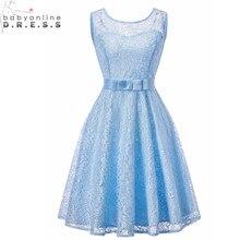 4612f6909 Barato Luz de encaje azul vestidos corbata de lazo corto sin mangas 8th  grado Vestido de