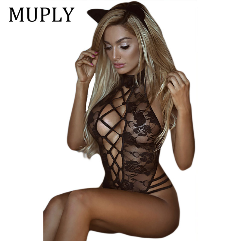 2018 New Sexy Lingerie Hot Black Lace Perspective Women Teddy Lingerie Cosplay Cat Uniform Sexy Erotic Lingerie Sexy Costumes backless see through lace lingerie teddy