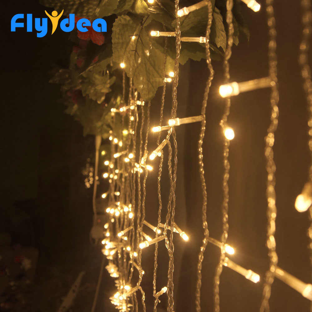 3.5M LED icicle light string new year fairy decoration EU/US Plug 220V 110V Christmas lighting holiday garden garland waterproof