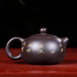 Image 2 - Czarny Zhu błoto Yixing czajniczek czysta ręka Handmade kolorowe błoto malowany kwiat ptak Xi Shi Pot purpurowa glina 188 Ball Hole 170ml