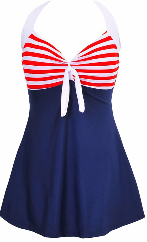 Sexy Plus Size Stripe Padded Halter Skirt Swimwear Women One Piece Suits Swimsuit Beachwear Bathing Suit Swimwear Dress M To 4XL 10