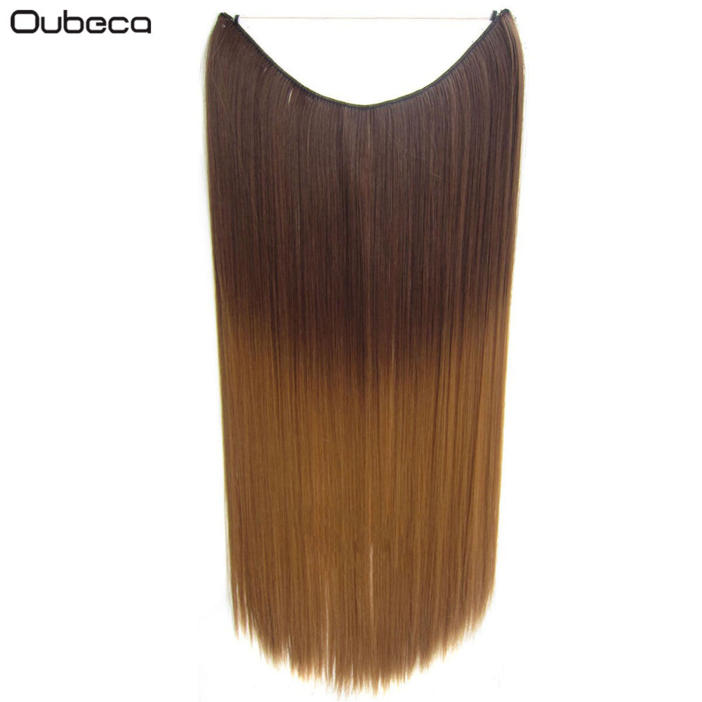 Oubeca Ombre Black Brown Blonde Long Straight Fish Line Hair