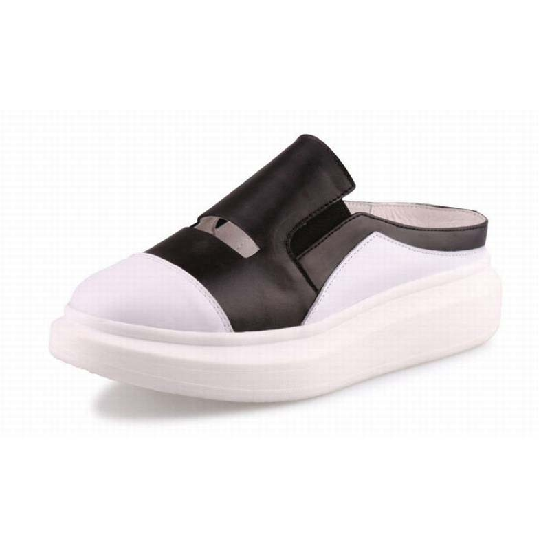 2017 New Arrival Genuine Cow Leather Women Flats Sandals Thick Bottom Platform Shoes Female Summer Closed-toe Slippers Mocassin mmnun 2017 boys sandals genuine leather children sandals closed toe sandals for little and big sport kids summer shoes size26 31