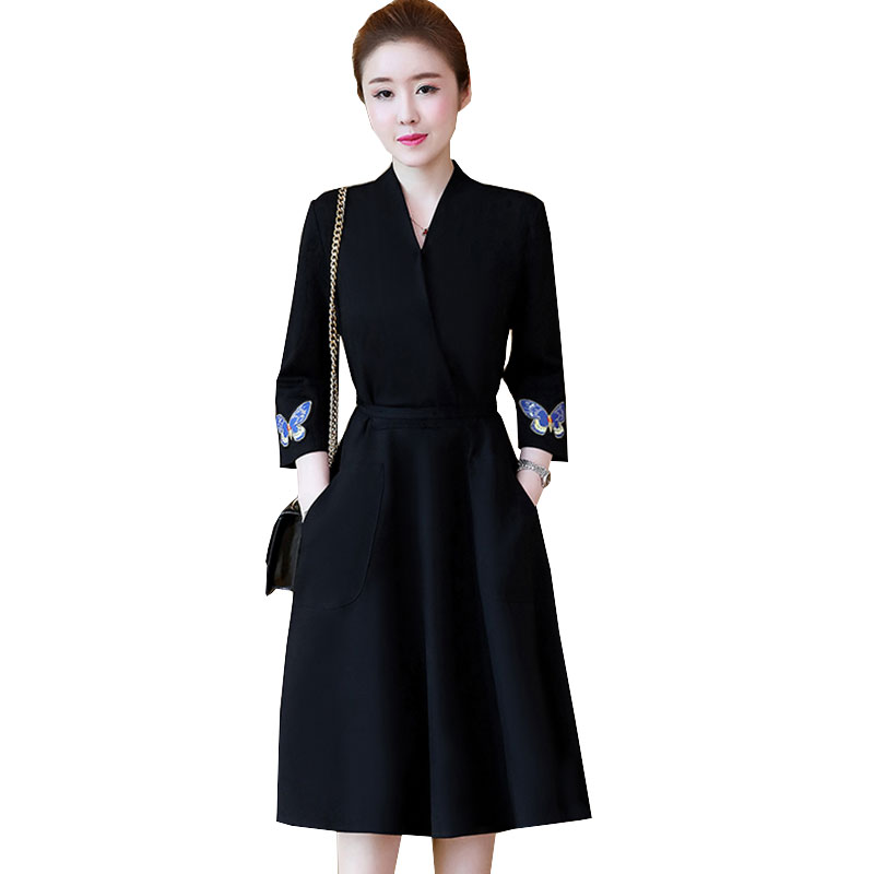 Butterfly Embroidery Women Plus size Autumn Winter Bandage Dress 2017 Fashion New Black Friday Slim Female Ukraine Dresses X83