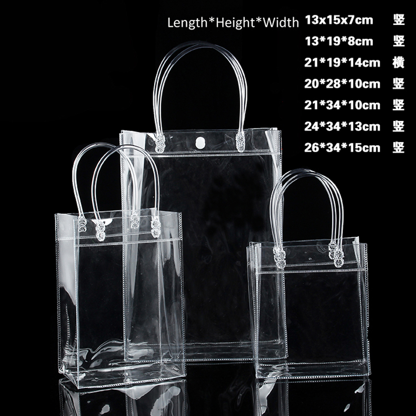 20pcs/lot Transparent soft PVC gift tote packaging bags with hand loop, clear Plastic handbag, cosmetic bag, GG free shipping