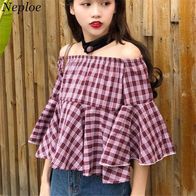 Neploe חדש משובץ קיץ אישה צמרות את כתף ראפלס חצי שרוול התלקחות Feamle Blusas סלאש צוואר מתוק קוריאני חולצה 67634