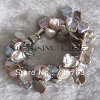 xiuli 0019 8 Inches 9 15mm Lavender Keshi 2Row Freshwater Pearl Bracelet Magnetic Clasp