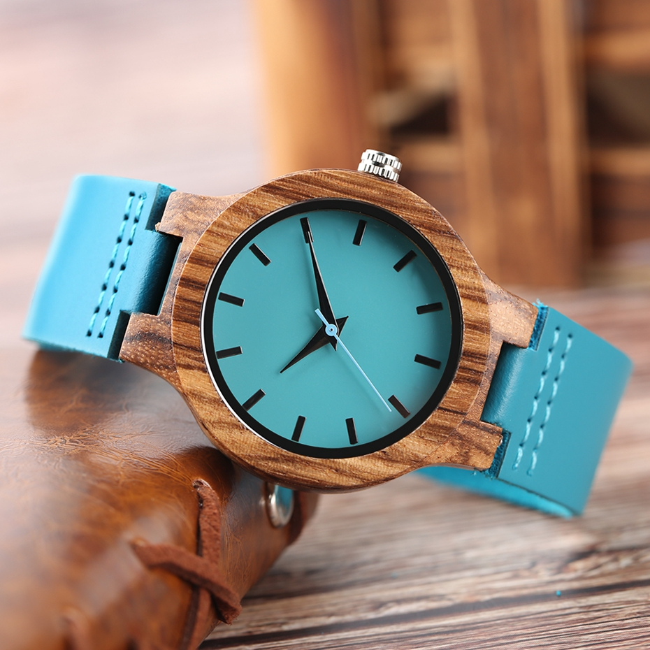 Fashion Blue Wooden Bamboo Quartz-watch Natural Wood Wristwatch Genuine Leather Creative Xmas Gift for Men Women Reloj de madera 2017 2018 (23)