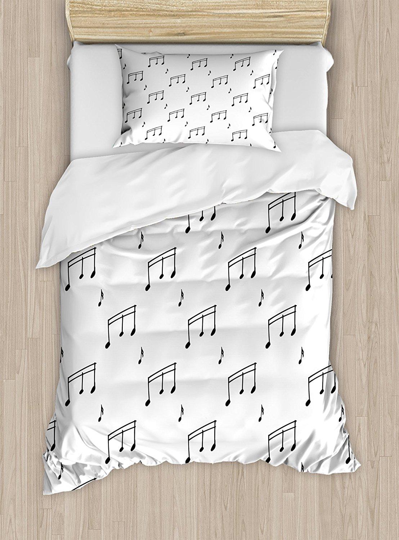 Музыка постельное белье музыкальные ноты тема Melody Sonata песни петь скрипичный ключ мелодии рисованной Стиль узор, 4 шт. Постельное белье