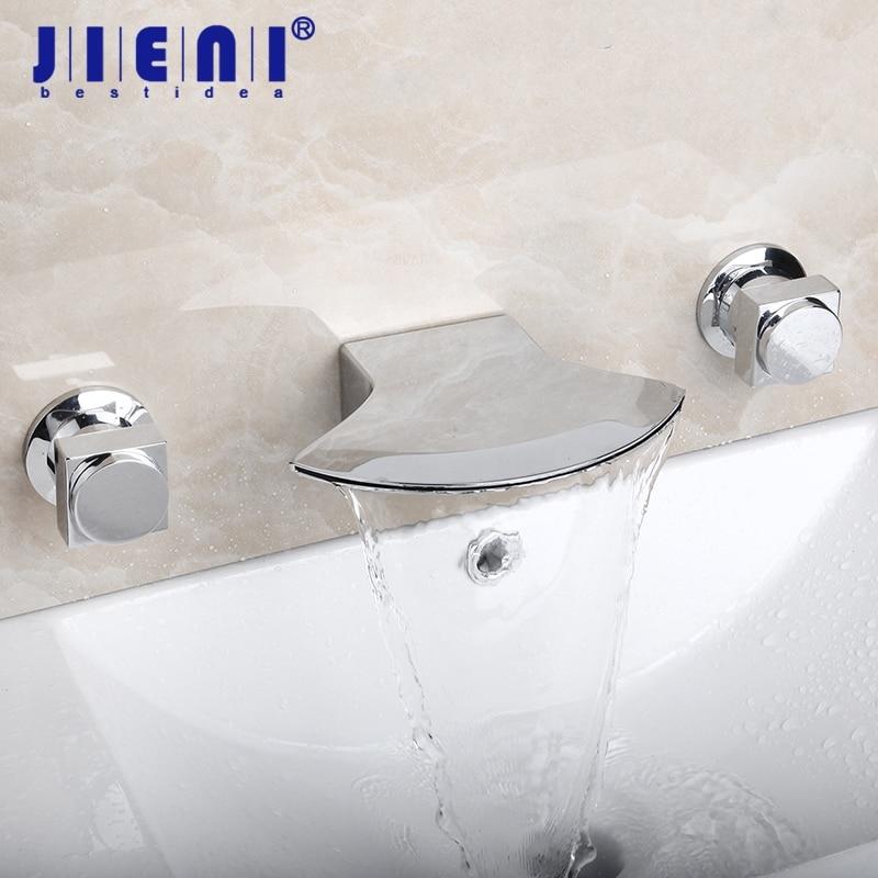 Waterfall Ceramic Double Handles Bathroom Bathtub Basin Sink Mixer Tap Deck Mounted 3 pcs Chrome Faucet Set kemaidi bathroom faucet double handles bathtub basin sink mixer tap 3 pcs antique brass faucet set brand new deck mounted
