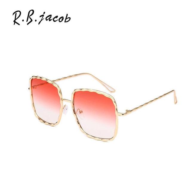 2b2c8d93547e9 Mais novo estilo quadrado plus size mulheres Óculos de sol de ouro  envoltório senhora Óculos jpg