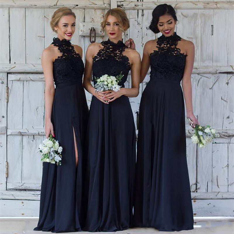 2019 Navy blue High Neck Long   Bridesmaid     Dresses   Sexy Side Split Lace Wedding Guest   Dress   Sweep Train Maid Of Honor Gowns