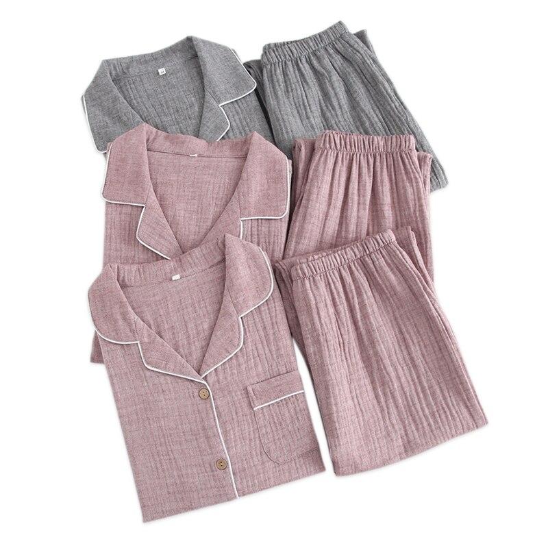 2019 Spring New Couples   pajamas     sets   women 100% crape cotton fashion simple pijamas women indoor homewear pijamas mujer