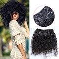 Clip En la Extensión Del Pelo Humano Del Afroamericano 7A Brasileño de la Virgen Afro Rizado Rizado Clip En Extensiones de Cabello Negro 10 UNIDS 120G/220G