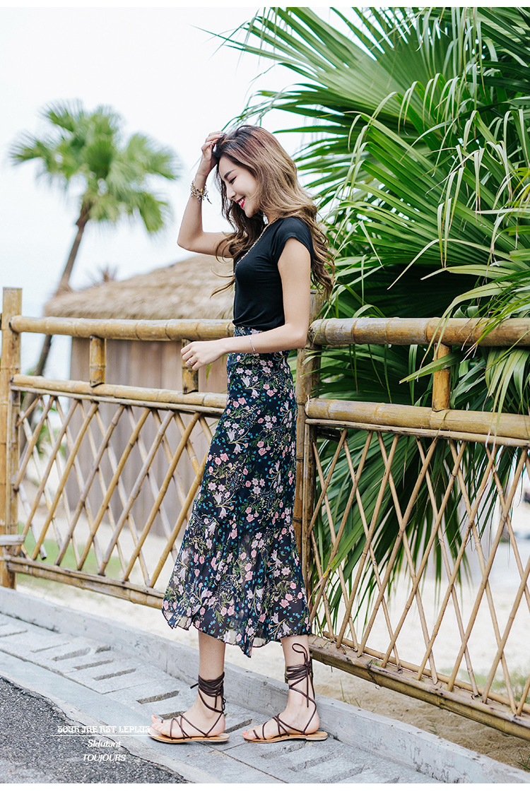 New 2018 Summer Sweet Holiday Casual Chiffon Women Skirts Fashion Bohemian Floral Empire A-Line Female Clothing Skirt 0061 30