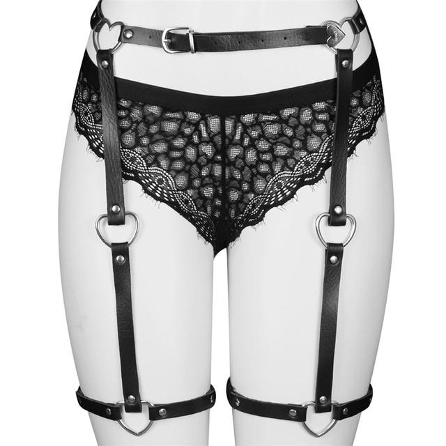 eb9fa51ac74 LEATHER HARNESS BONDAGE Leg Ring GARTER BELT thigh Stockings Suspenders belt  High waist Black Lingerie Harajuku Goth Dance Wear