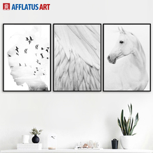 Horse Feather Girl Landscape Wall Art Canvas Painting Nordic Posters And Prints Black White Pictures For Living Room Decor