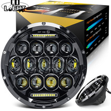 CO LIGHT 75W 7 inch Led Headlights Offroad H4 Angel Eye Hi/Lo Beam DRL Auto Headlight Kit for Lada 4x4 Niva Land Rover Jeep