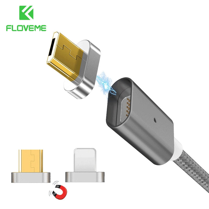 FLOVEME 2 Connectors Magnetic Cable For iPhone 7 6 5 5S & Micro USB Charging Cables Car Magnet Charger For Samsung S7 S6 Xiaomi