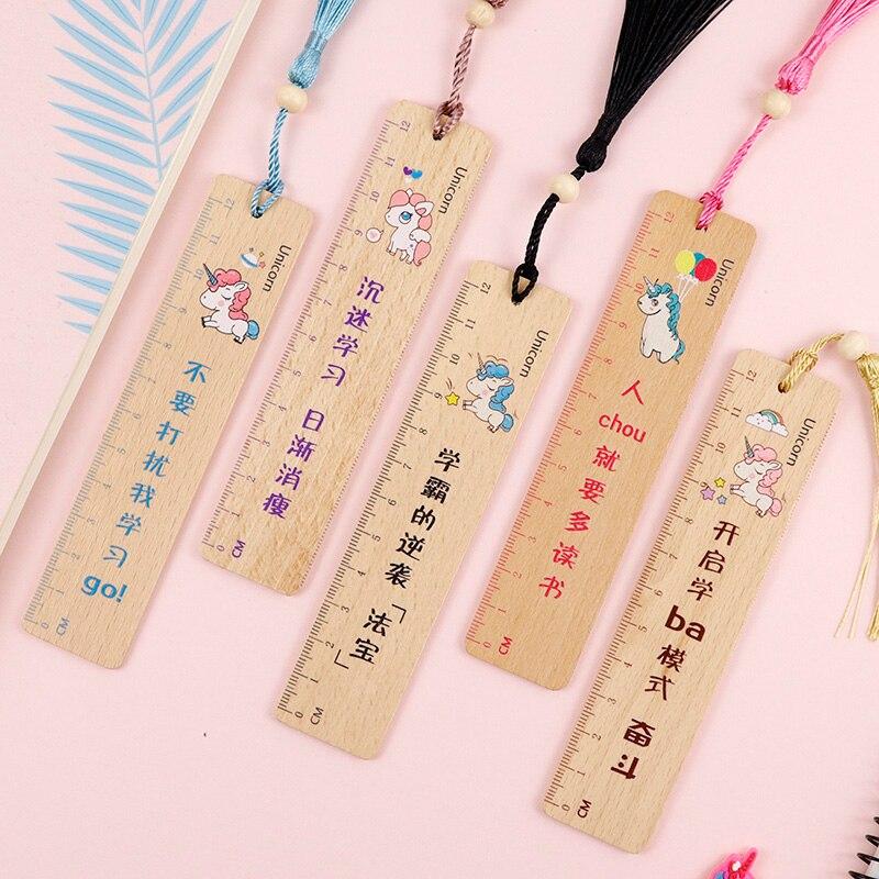 Cute Kawaii Cartoon Animal Unicorn Wooden Ruler Straight Ruler Tassel Bookmark Creative  Drawing Korean School Stationery