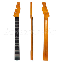 Darker Yellow 22 Frets Guitar Neck Rosewood Maple For Fender Tele Replacement