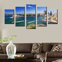 Sydney Opera House City Landscape Wall Decor Printed Giclee 5 Panels Canvas Painting for Office Wall Art Photo Picture Artwork