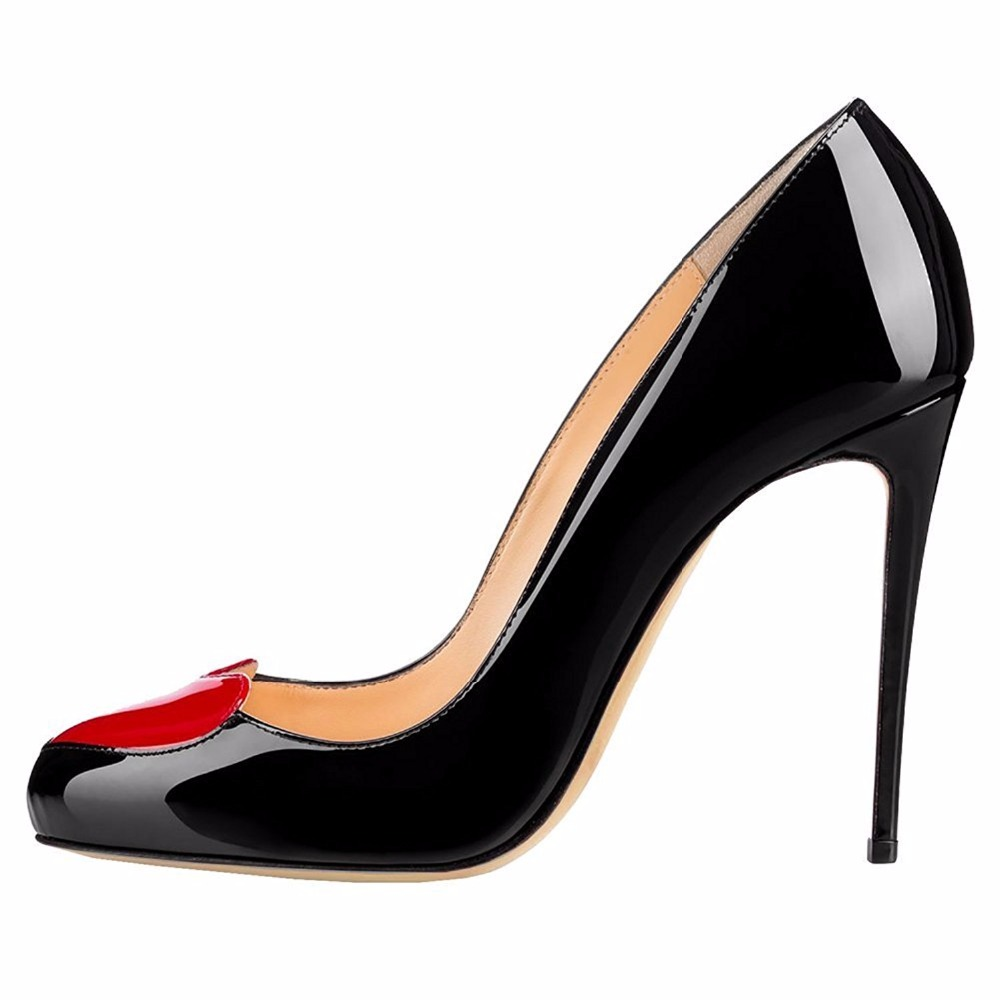 ФОТО Amourplato 100mm Round Toe Heart-shaped  Stiletto High Heel Party Dress Pumps Fashion Court  Shoes Black