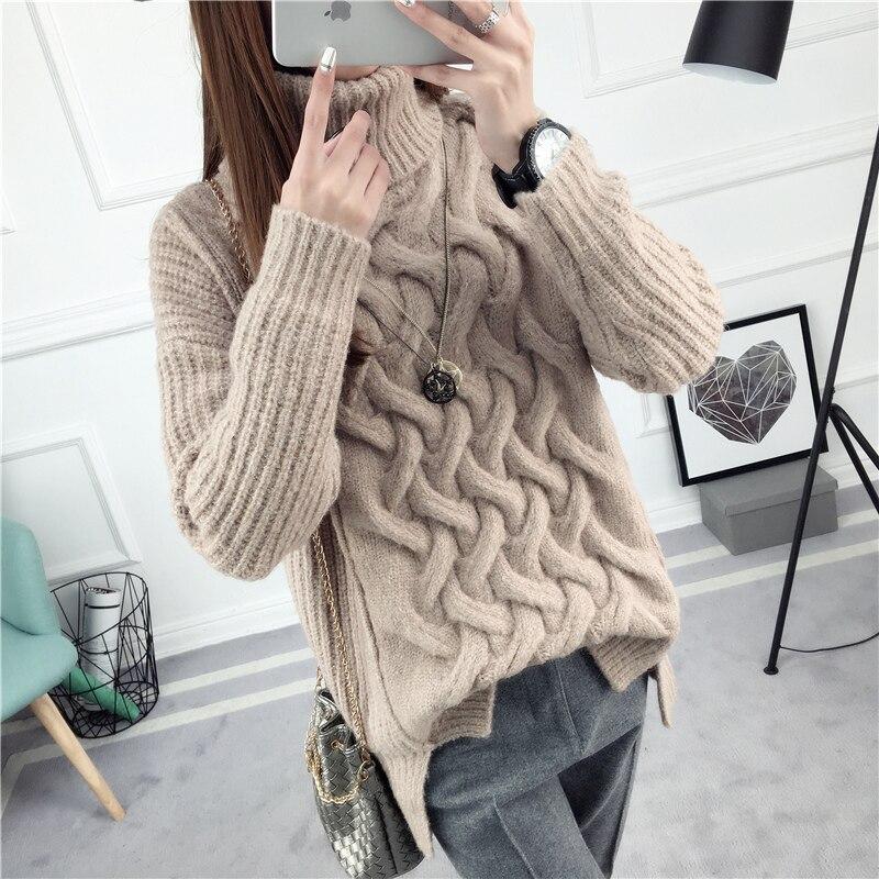 Giro suéter camisa de cuello alto suéter básico femenino suéter flojo suéter gru