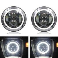 1 set Colorful Angel eye 7 Round LED Headlight JK TJ CJ8 FJ cruiser for motor Dyna 7inch headlamp 40w working light for Jeeep