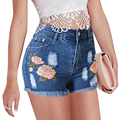 3D Embroidery Vintage Ripped Hole High Waist Denim Shorts Women Casual Pocket Jeans Shorts 2017 Summer Shorts Plus Size FL358