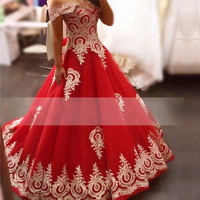 9cfc3f90a60 Sweet Red With Gold Lace Appliques Quinceanera Dresses V Neck Off the  Shoulder Floor Length Puffy Party Gown vestidos de 15 anos