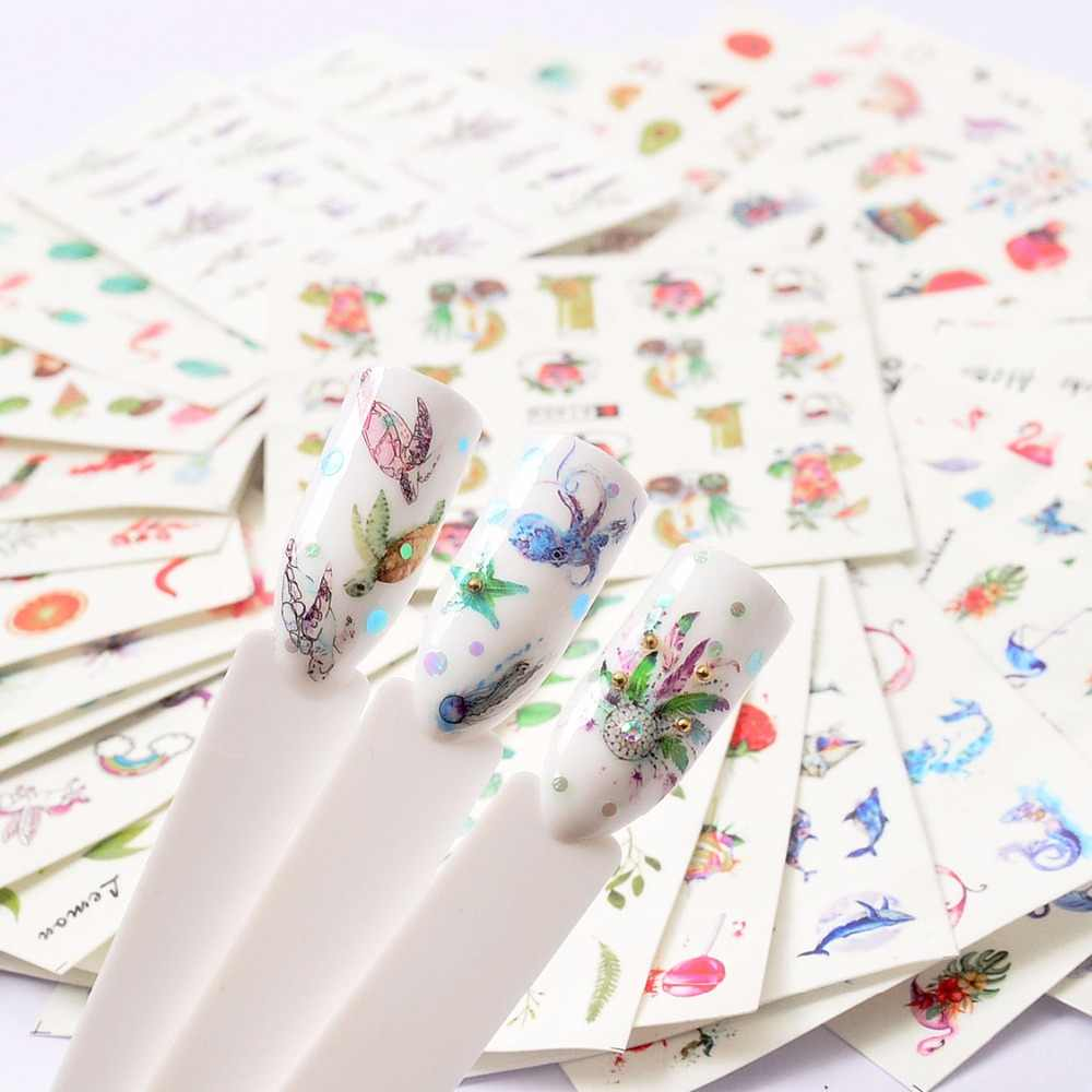 Brand New 1 PC Green Grass/Flower/Fruit Water Transfer Sticker Nail Art Decals DIY Fashion Wraps Tips Manicure Tools