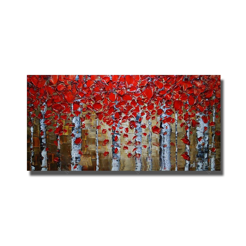 ⊰Pinturas al óleo hechas a mano pintura abstracta cuchillo hojas ...