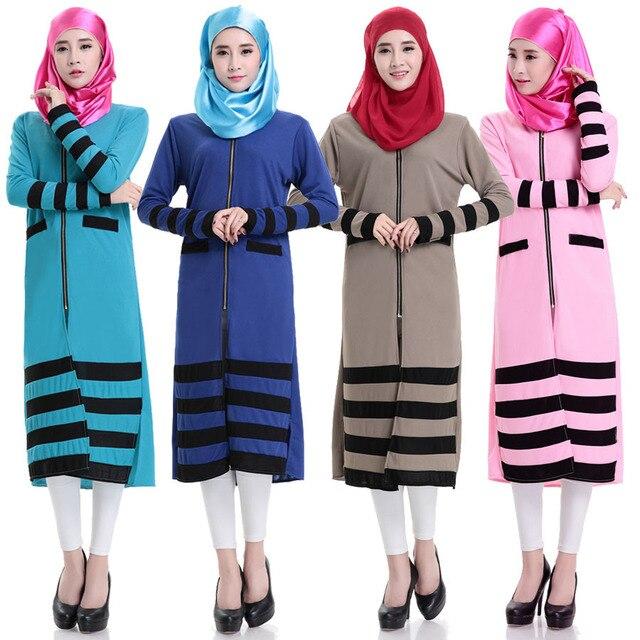 2015 мода Исламизм девушки топ повседневная шифон рубашка с длинным рукавом блузки топы плюс размер для мусульманских женщин молния одежда