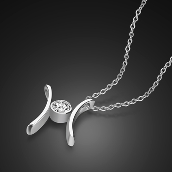 925 Sterling Silver Necklace Women's Fashion Zircon Inlaid Letter Pendant Design Solid Silver Necklace Lady Fashion Jewelery 1