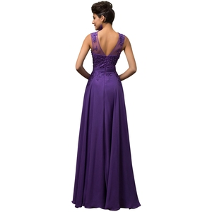 Image 2 - ANGELSBRIDEP Plus Size Appliques Beading Chiffon Long Evening Dresses Formal Party Prom Gowns Robes De Soiree 2020 Loss Sell