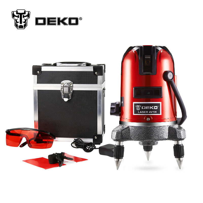 DEKOPRO LL56 5 lines 6 points laser nivel level 360 rotary cross laser line leveling can be used with outdoor receiver 1pc laser cast line machine multifunction laser line cross line laser rotary laser level 360 selfing leveling 5 line 4v1h3 point