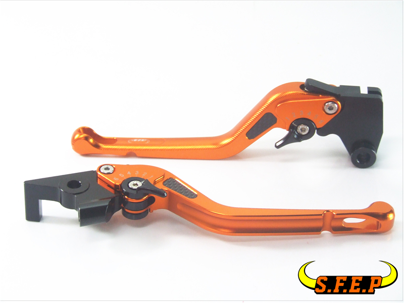 3D Long CNC Adjustable Motorcycle Brake and Clutch Levers with Carbon Fiber Inlay For Yamaha R6S CANADA VERSION 2006