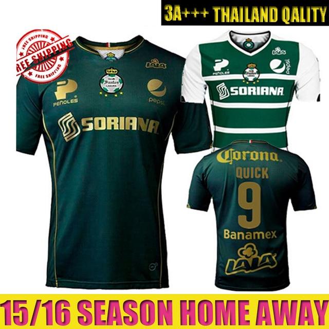 b0a3e54d5e3d0 Top A+++ camiseta Mexico Santos Laguna 2015 2016 away green soccer jersey  Custom name and number Football Shirt Free shipping
