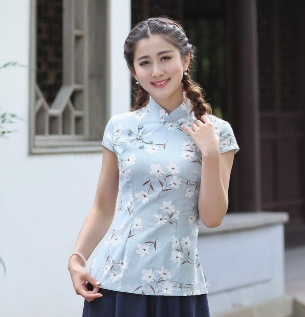 ac47b6dbbf6 Shanghai Story New Sale cheongsam shirt chinese tops cheongsam top  traditional Chinese Linen Top Linen blouse top 7 style